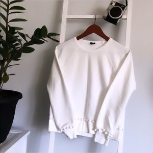 New🔥 J crew | white sweater with Pom poms 💕
